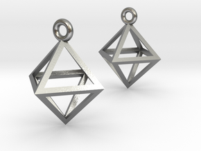 Octahedron Earrings in Natural Silver