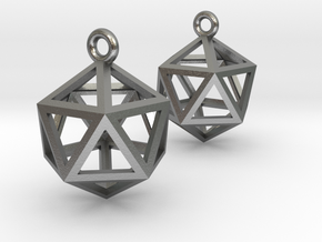 Icosahedron Earrings in Natural Silver