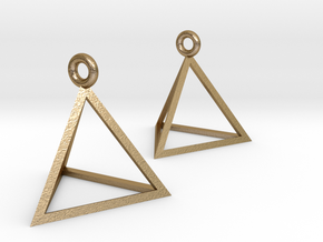 Tetrahedron Earrings in Polished Gold Steel