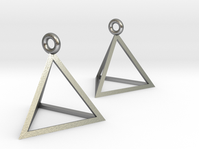 Tetrahedron Earrings in Natural Silver