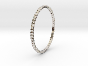 "Bangle simple ""diamonds"" 4 in Rhodium Plated Brass"