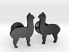 Llama Cufflinks in Matte Black Steel