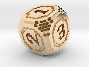 8-Bit Pixel Die in 14K Yellow Gold