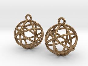 Planetary Merkaba Earrings in Natural Brass
