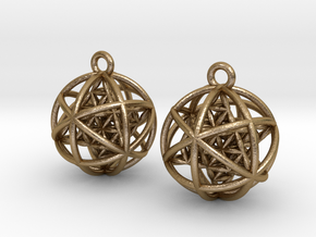 Flower of Life Planetary Merkaba Earrings in Polished Gold Steel