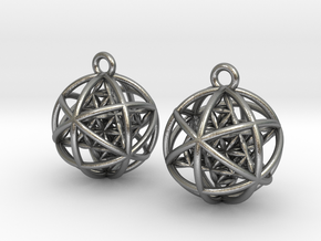 Flower of Life Planetary Merkaba Earrings in Natural Silver