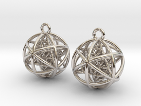 "Flower of Life Planetary Merkaba Earrings 1"" in Rhodium Plated Brass"