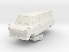 1-64 Ford Transit Mk1 Long Base Van Mini Bus in White Natural Versatile Plastic
