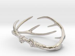 Antler Bracelet Medium/Small (75mm)  in Rhodium Plated Brass