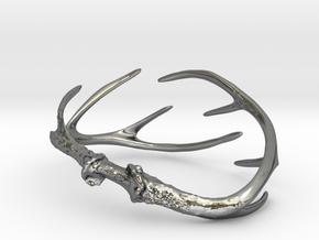 Antler Bracelet - Small (70mm) in Fine Detail Polished Silver