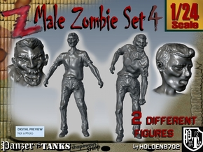 1-24 Male Zombie Set4 in White Natural Versatile Plastic