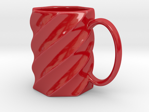 Spiral Mug in Gloss Red Porcelain
