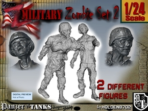 1-24 Military Zombie Set 2 in White Natural Versatile Plastic