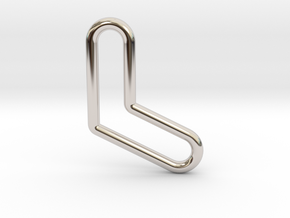 Aussie Boomerang Tubular Pendant in Rhodium Plated Brass