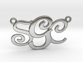 Custom Monogram Pendant - SCG in Polished Silver
