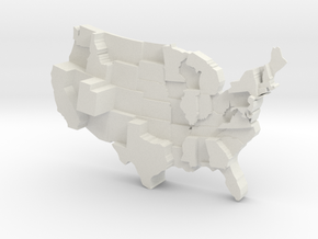 USA by Family Size in White Natural Versatile Plastic