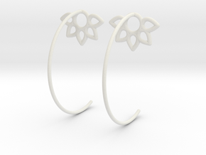 Flower Earring in White Natural Versatile Plastic
