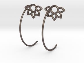 Flower Earring in Polished Bronzed Silver Steel