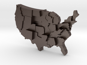 USA by Guns in Polished Bronzed Silver Steel