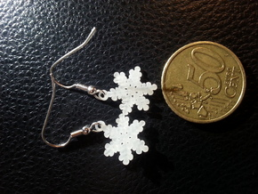 Snowflake Ear Ring Pair in Frosted Extreme Detail