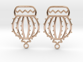 Cactus Ball Earrings in 14k Rose Gold Plated Brass