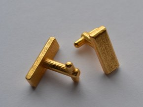 Lieutenant Bar Cufflinks in Polished Gold Steel