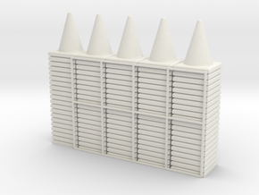 100 Traffic Cones (Stackable), 1/32  in White Natural Versatile Plastic