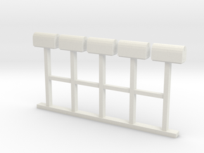Mail Box - Rural (5) HO 87:1 Scale in White Natural Versatile Plastic