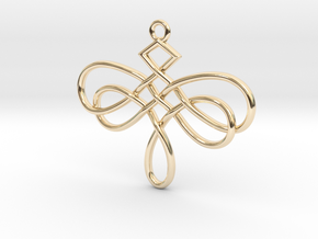 Dragonfly Celtic Knot Pendant in 14K Yellow Gold