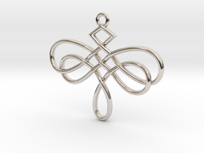 Dragonfly Celtic Knot Pendant in Platinum