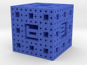 Menger Sponge Die in Blue Processed Versatile Plastic