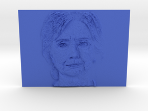 Embosssed Image Of Hillary Clinton's Face in Blue Processed Versatile Plastic