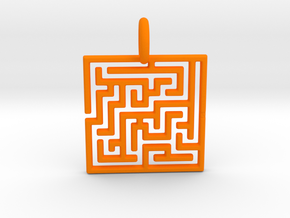 Maze Pendant No.3 in Orange Processed Versatile Plastic