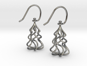 Christmas Tree Twirl in Polished Silver (Interlocking Parts)
