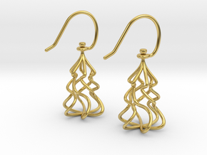 Christmas Tree Twirl in Polished Brass (Interlocking Parts)