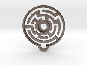 Labyrinth Pendant in Polished Bronzed Silver Steel