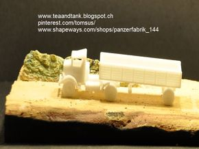 1/144 US trailer for Autocar tractor in White Natural Versatile Plastic