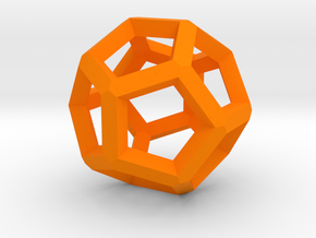 Dodecahedron 10 in Orange Processed Versatile Plastic