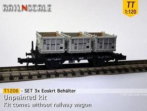 SET 3x Eoskrt 021 Behälter (Tillig) (TT 1:120) in Smooth Fine Detail Plastic
