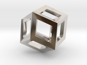 1.84cm-Rhombic Dodecahedron(Leonardo-style model) in Rhodium Plated Brass