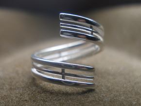 Bars & Wire Ring Size 12 in Polished Silver