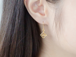 Diamond Earrings #S in 14k Gold Plated