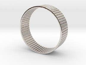 Abstract Bracelet (77 mm-diameter) in Rhodium Plated Brass