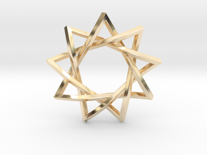 "9 Pointed Penrose Star 1.2"" in 14k Gold Plated Brass"