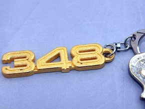 KEYCHAIN 348 LOGO in Polished Gold Steel