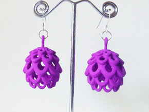Artichoke - Pair of Plastic Earrings in Purple Processed Versatile Plastic