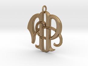Monogram Initials AP Pendant  in Matte Gold Steel