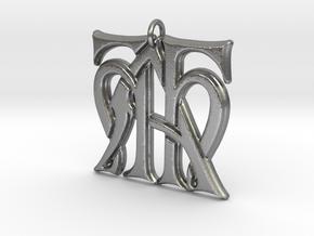 Monogram Initials HHA Pendant  in Natural Silver
