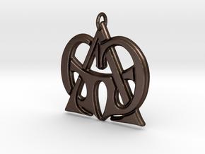 Monogram Initials GGA Pendant  in Matte Bronze Steel
