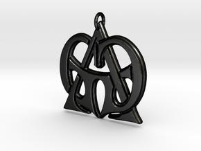 Monogram Initials GGA Pendant  in Matte Black Steel